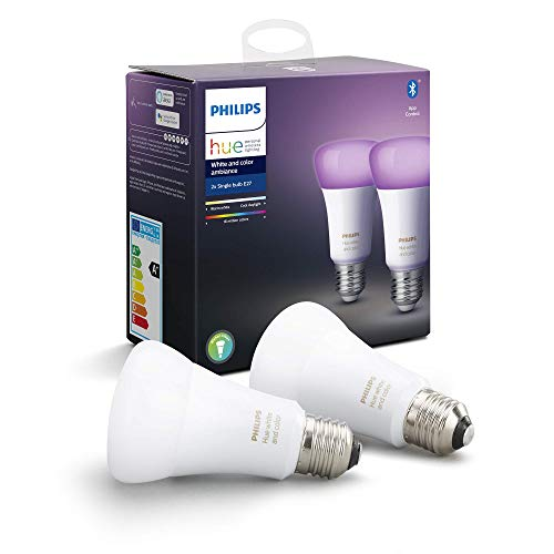 Philips Hue White & Color Ambiance E27 LED Lampe Doppelpack, dimmbar, bis zu 16 Millionen Farben,...